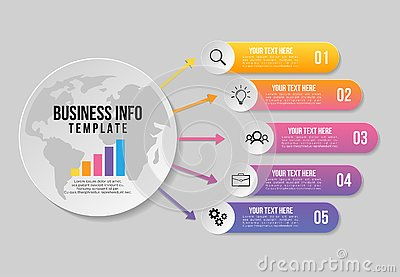 Vector Infographics Elements Template Design . Business Data Visualization Timeline with Marketing Icons most useful can be used f Vector Illustration