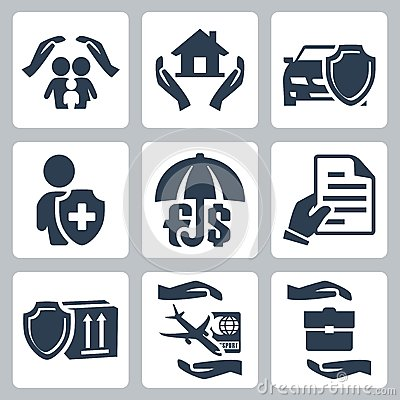 Vector insurance icons set