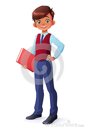 Vector intelligent young school boy in uniform standing with book. Vector Illustration