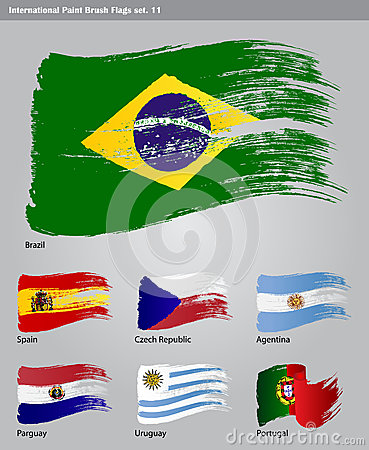 Vector International Paint Brush Flags