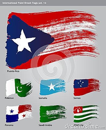 Vector International Paint Brush Flags