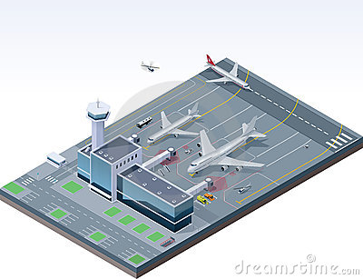 Vector isometric airport Vector Illustration
