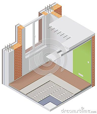 Vector isometric apartment cutaway icon
