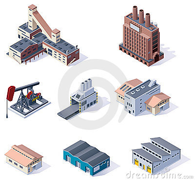 Free Vector Isometric Buildings. Industrial Royalty Free Stock Photos - 23803778