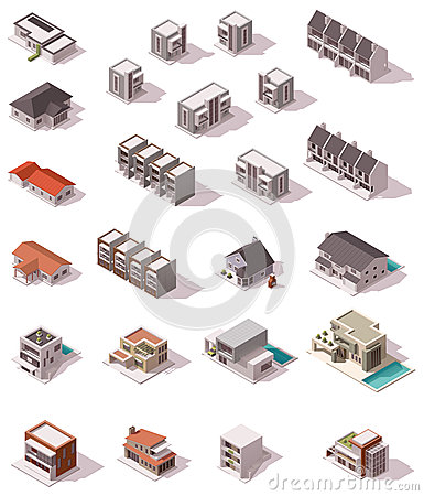 Free Vector Isometric Buildings Set Stock Photography - 56020552