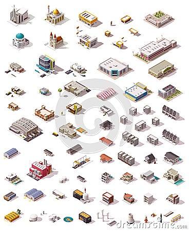 Free Vector Isometric Buildings Set Stock Image - 62348151