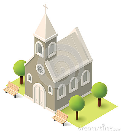 Free Vector Isometric Church Stock Images - 52375014
