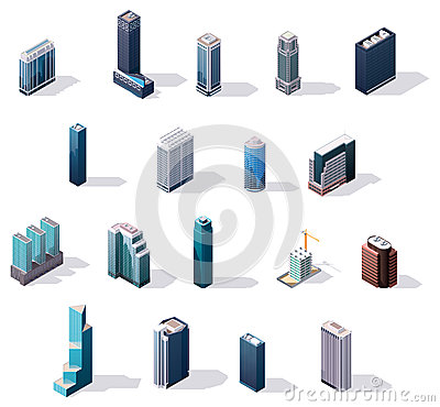 Free Vector Isometric City Center Buildings Set Royalty Free Stock Photos - 44492618
