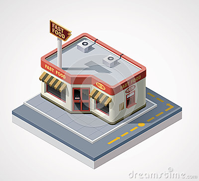 Free Vector Isometric Fast Food Cafe Stock Photos - 25916083
