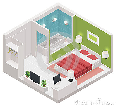 Free Vector Isometric Hotel Room Icon Stock Images - 33475364
