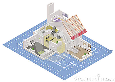 Vector isometric house cutaway icon