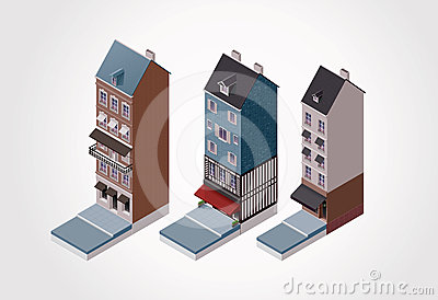 Vector isometric old buildings. Part 1