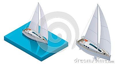Vector isometric yacht