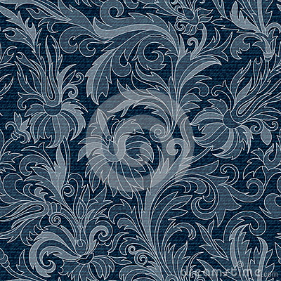 Free Vector Jeans Background With Flowers. Denim Seamless Pattern. Blue Jeans Fabric. Floral Grunge Background Stock Photos - 76095973