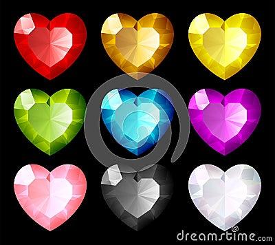 Vector jewel set. Hearts