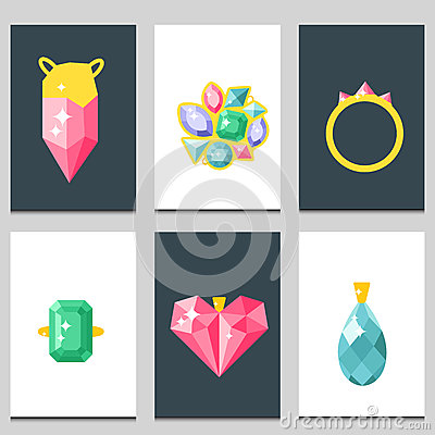 Vector jewelry items gold cards elegance gemstones precious accessories fashion illustration Vector Illustration