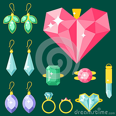 Vector jewelry items gold elegance gemstones precious accessories fashion illustration Vector Illustration
