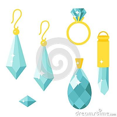 Vector jewelry items gold elegance gemstones precious accessories fashion illustration Vector Illustration