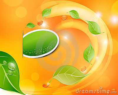 Vector juicy, fresh background with leaves