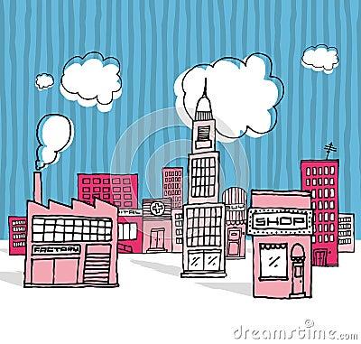 Vector Karikatur Stadt/Nachbarschaft