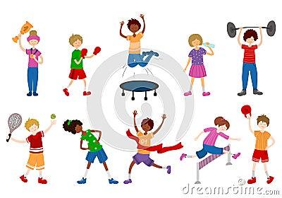 Vector Kids Sports Vector Illustration
