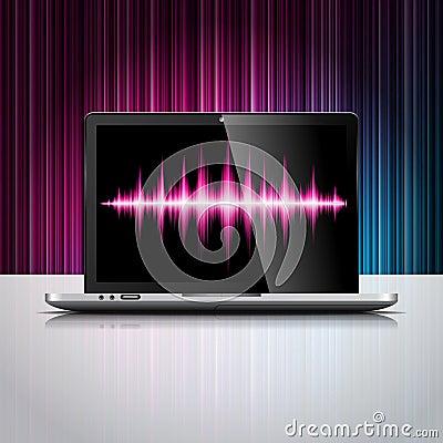 Vector l illustrazione disegnata la tecnologia con il dispositivo brillante del computer portatile sul fondo di colore.
