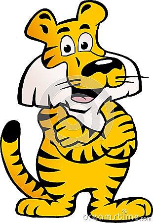 Vector l illustrazione di una tigre siberiana felice e fiera