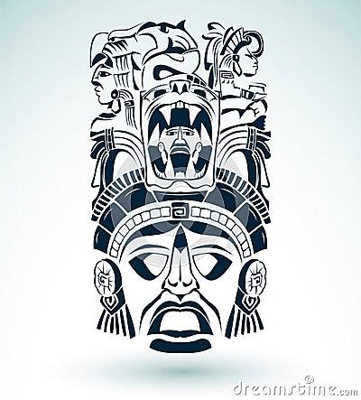 vector la maschera motivi aztechi simbolo maya. Black Bedroom Furniture Sets. Home Design Ideas