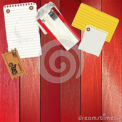 Vector la tarjeta de la nota con la varios nota/modelo del boleto
