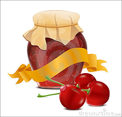 Vector Label With A Jar Of Cherry Jam And A Ribbon Stock Images - Image: 20153974