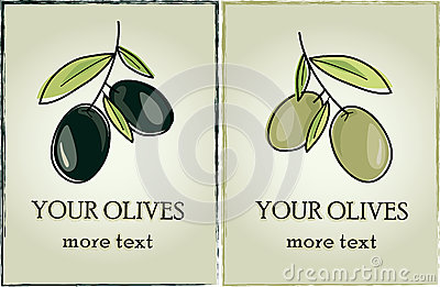 Vector label sticker olives dark and light
