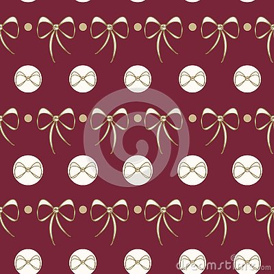 Vector Lace Bows on deep red seamless background. Vector Illustration
