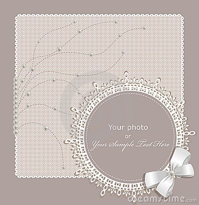 Vector lace picture frame on a beige background