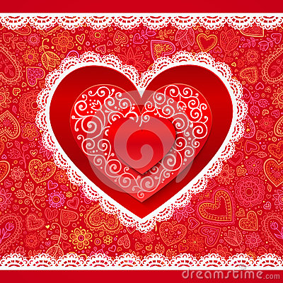 Free Vector Lacy Valentines Day Hearts Greeting Card Stock Photos - 28516173