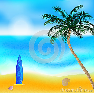 Vector landscape with beach and palm tree