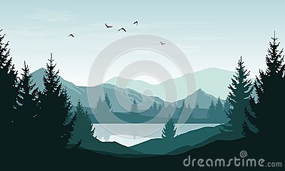 Vector landscape with blue silhouettes of mountains, hills and f Vector Illustration