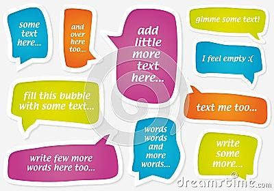 Vector las burbujas en colores pastel del discurso