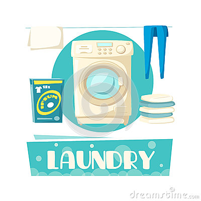 Free Vector Laundry And Washing Machine And Linen Stock Photo - 93309350