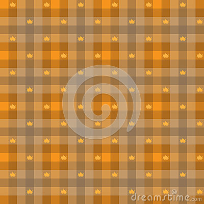 Vector - Leaf maple & Gingham Seamless Pattern