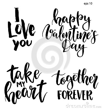 Free Vector Lettering For Valentine`s Day. Hand Painted Phrase: I Love You, Happy Valentine`s Day, Take My Heart, Together Stock Image - 108122591