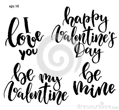 Free Vector Lettering. Hand Painted Phrase: I Love You, Be My Valentine, Be Mine, Happy Valentine`s Day. Holiday Print Stock Photo - 108122560