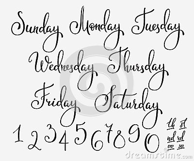 Vector lettering week days set stock illustration image Cute font generator free