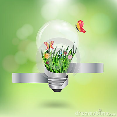 Free Vector Light Bulb With Beautiful Flower Inside Wit Stock Images - 31095234