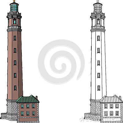 Vector lighthouse isolated on white background