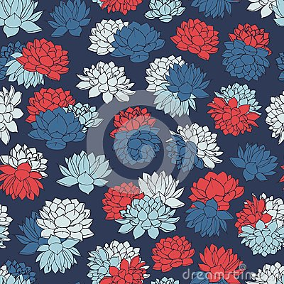 Free Vector Lilies Seamless Pattern In White, Red And Blue Colors On Dark Navy Background. Vintage Floral Design. Royalty Free Stock Photos - 103832708