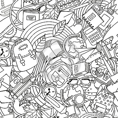 Free Vector Line Art School Seamless Pattern. Monochrome Doodle Education And School Supplies. Stock Photos - 75038113