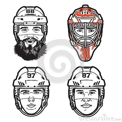 Free Vector Line Illustrations Of 4 Pro Hockey Players Heads Royalty Free Stock Photo - 130867865