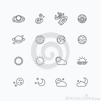 Vector Linear Web Icons Set - Space Sun And Moon ...