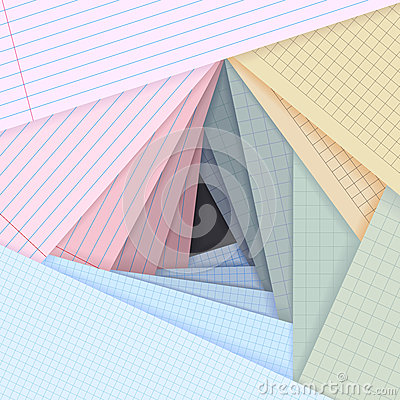 Vector lined and squared paper lie on each other.