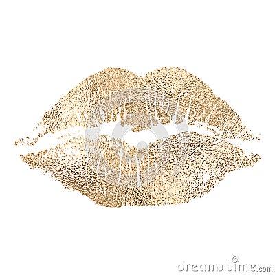 Vector lip imprint with golden texture. Vector Illustration